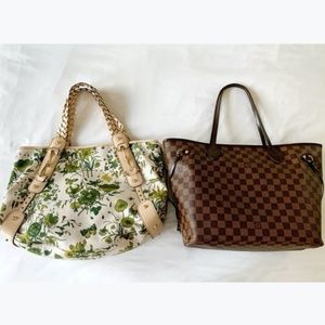 Gucci Beige and Green Floral Canvas Pelham Bag